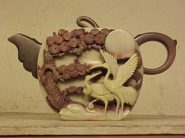 Chinese carved stone tea pot