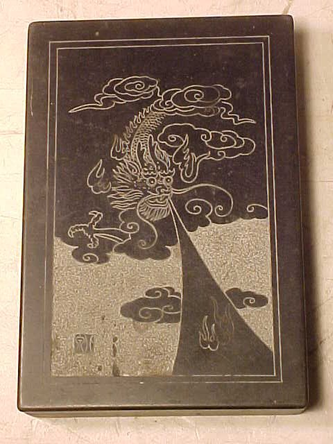 Chinese carved slate ink box