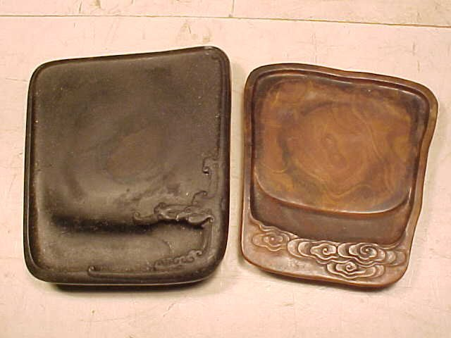 Two carved stone calligraphy trays