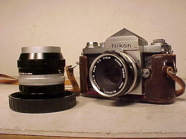 Nikon F camera with extra lens