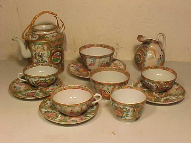 Partial tea set, Rose Medallion
