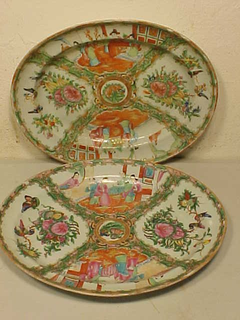 Two oval rose Medallion chargers