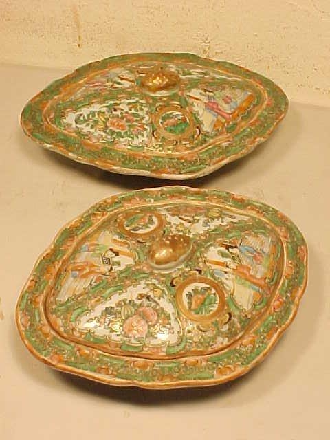 2 covered vegetable dishes, rose medallion