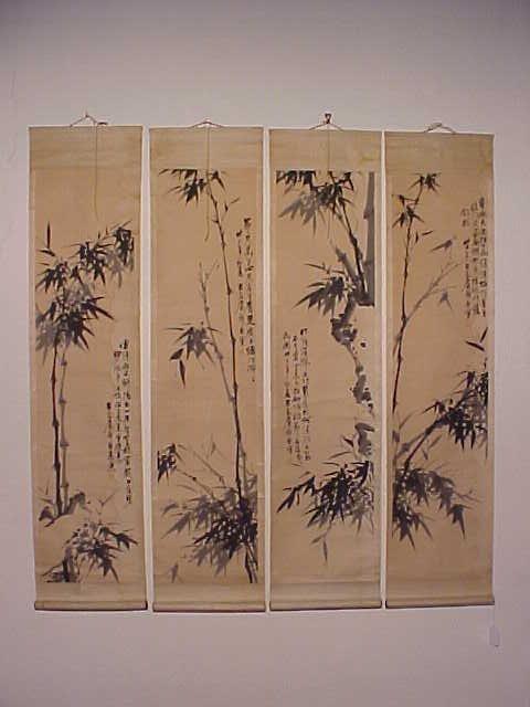Set 4 early Japanese scrolls