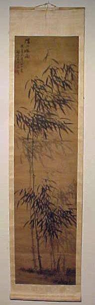 Single Japanese scroll, bamboo