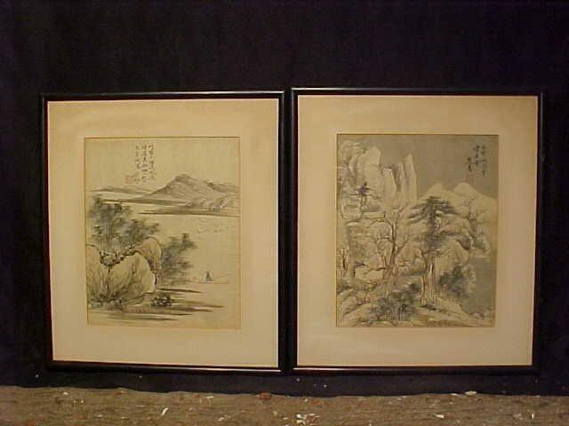 Pair Asian watercolors