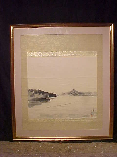 Asian watercolor, lake scene, signed