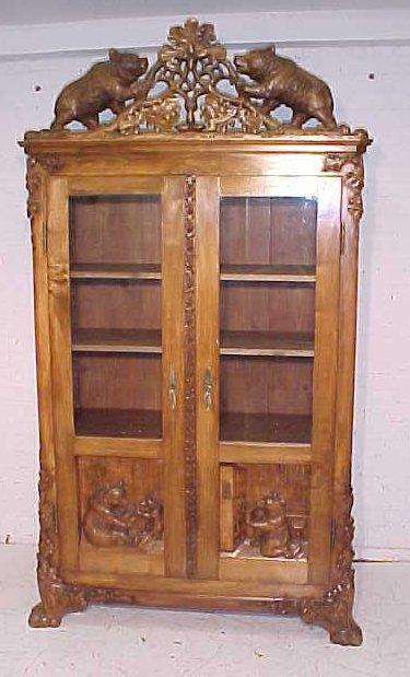 Black forest double door bookcase.