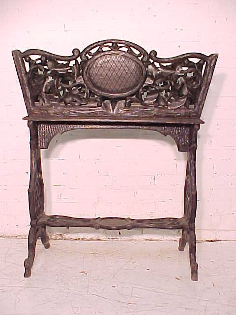 Black forest planter, rustic carved base - 2
