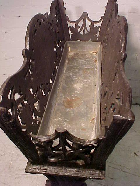 Black forest planter, rustic carved base - 8