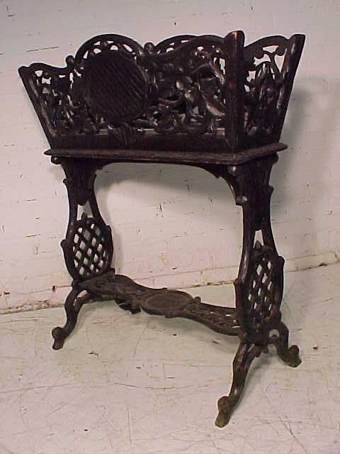 Black forest planter, rustic carved base - 9