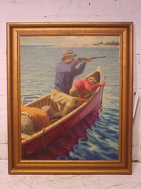 O/B, illustration, men in boat, sgd. Elliott Means