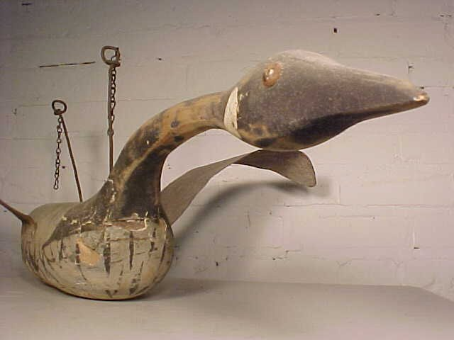 Goose decoy in original paint signed Clewis - 5