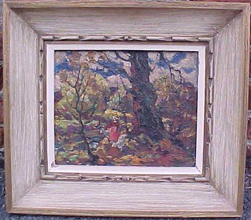 O/B, figure in woods, sgd. John Costigan