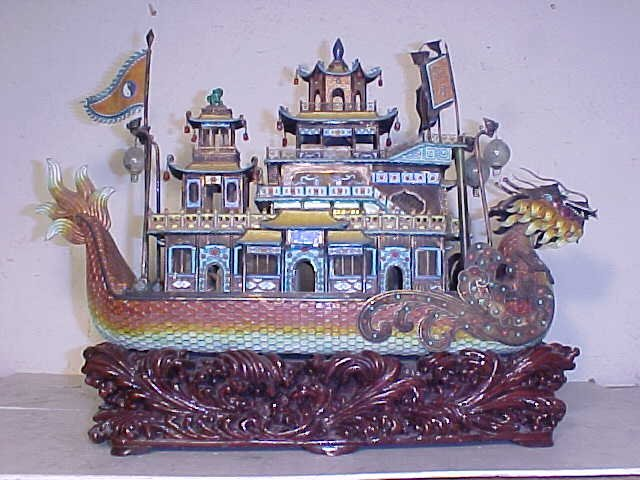 Enameled silver Chinese boat with stone & jade