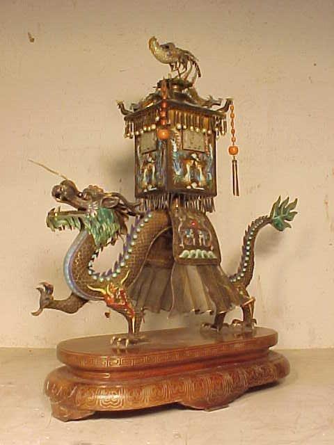 Chinese silver enamel dragon