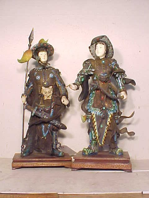 Pair Chinese silver enameled warrior figures