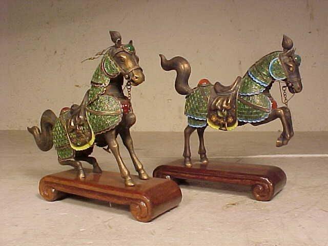 2 small silver enameled horses