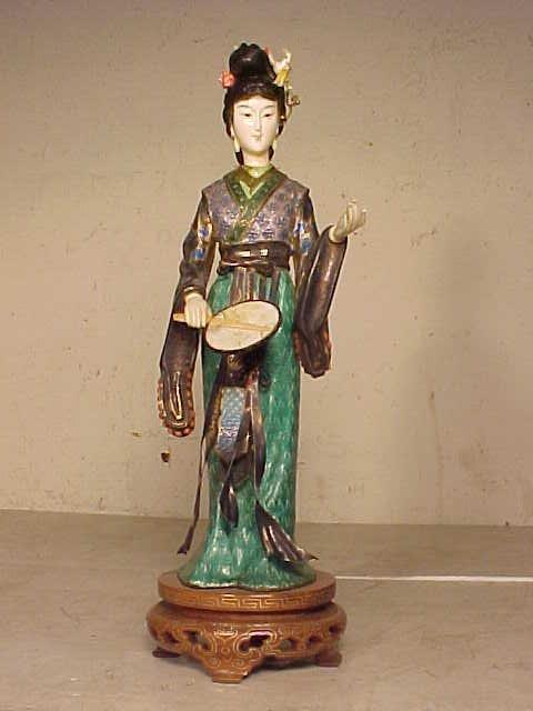 Enamel figure, woman with fan