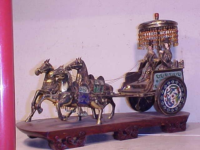 Silver enamel 3 horse drawn carriage