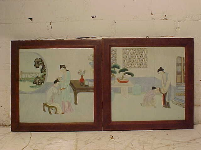 Pair Chinese framed porcelain plaques