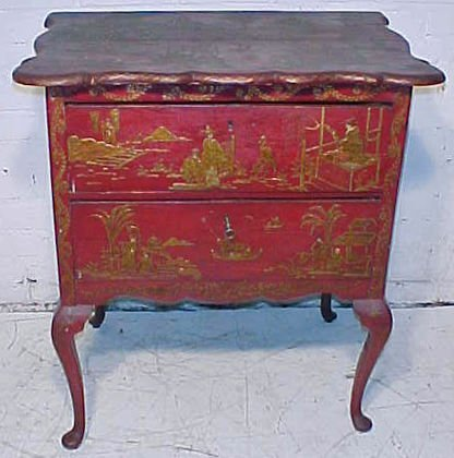 Chinoisserie red painted 2 drawer chest