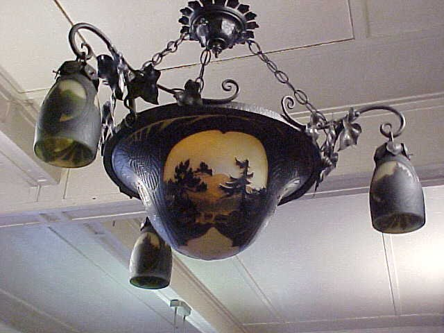 Muller Freres hanging fixture with center dome