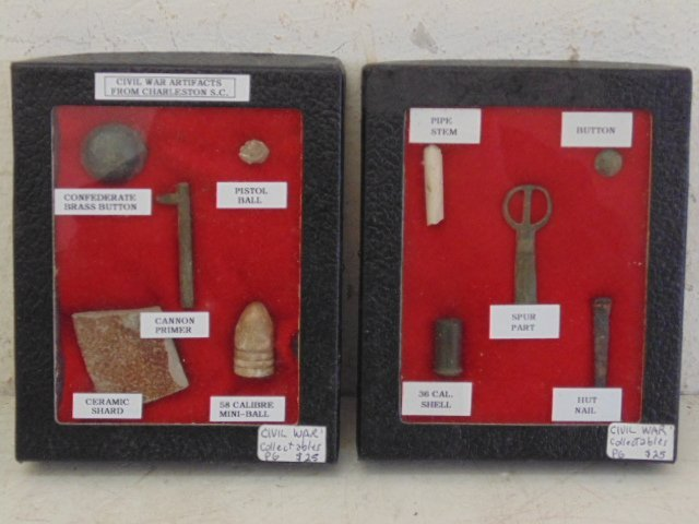 Lot 3 small boxes with civil war artifacts