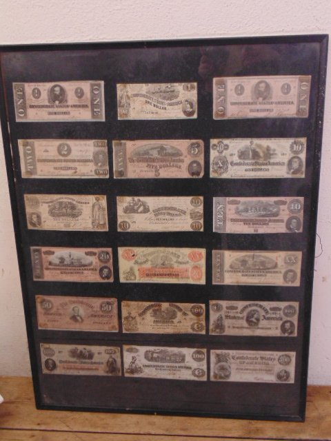 Large lot framed assorted Confederate currency