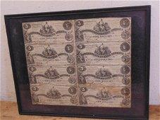 Confederate uncut currency sheet 8 $5 dollar bills