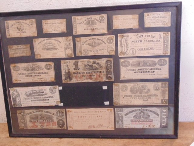 Framed collection Confederate currency notes, NC