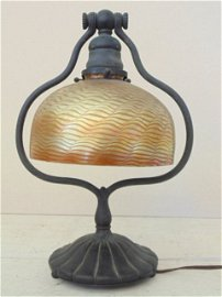 Tiffany bronze desk lamp with glass shade