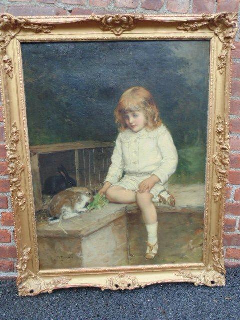 William Oliver (1823-1901) British Oil, boy with rabbit