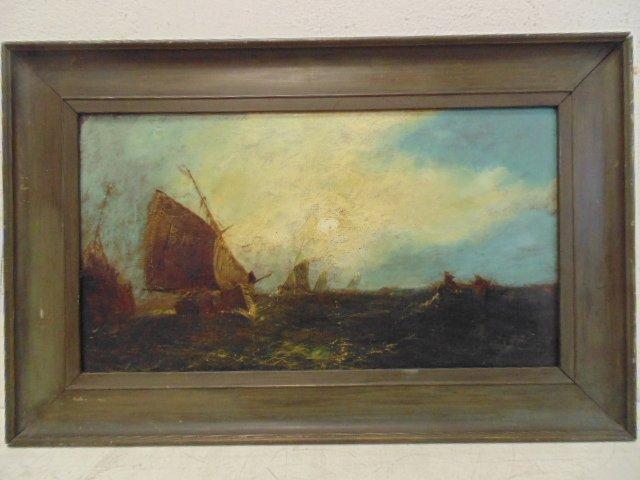 "O/B seascape, fishing boats at sea, ""Hartig"" written on"