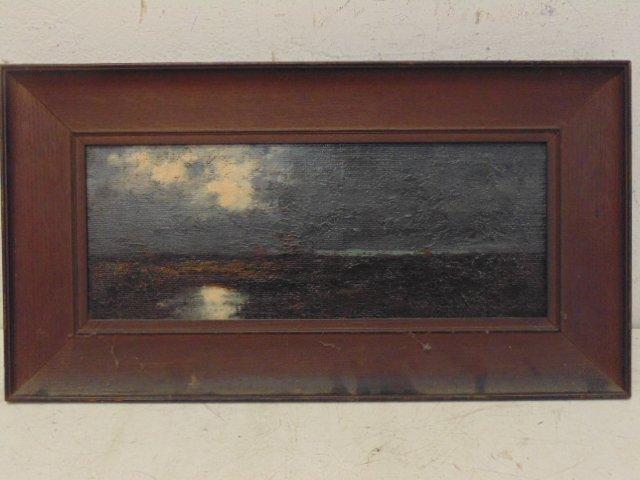 Oil on canvas landscape, moonlit scene, unsigned
