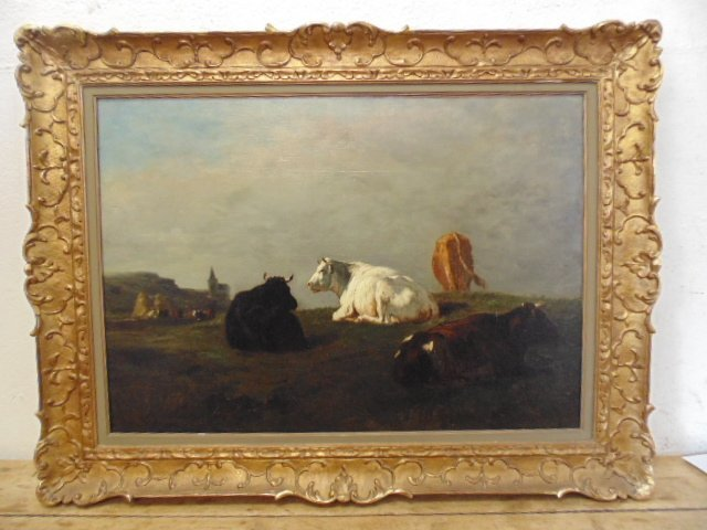 19th century O/C landscape cattle, unsigned