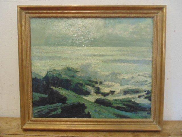 O/P, landscape, shore surf scene