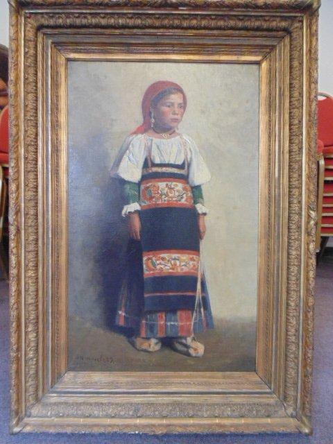 Jef Leempoels(Belgian1867-1935) O/C portrait girl in
