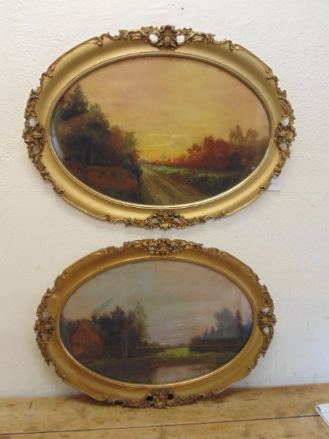 Pair oval pastels, landscapes, unsigned