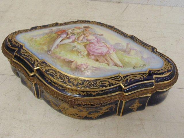 Porcelain box by Sevres, sgd. Crochette