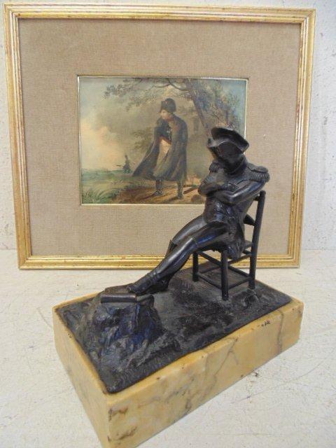 Napoleon bronze figure and etching, bronze