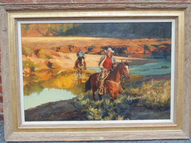 """Western oil, """"shallow Crossing"""", signed Howard Rogers"""
