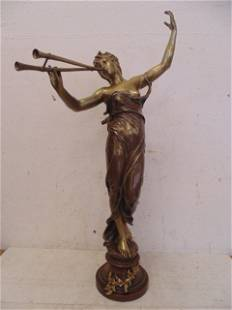 "Bronze, ""Euterpe"", 32"" tall, signed Eugene Marioton"