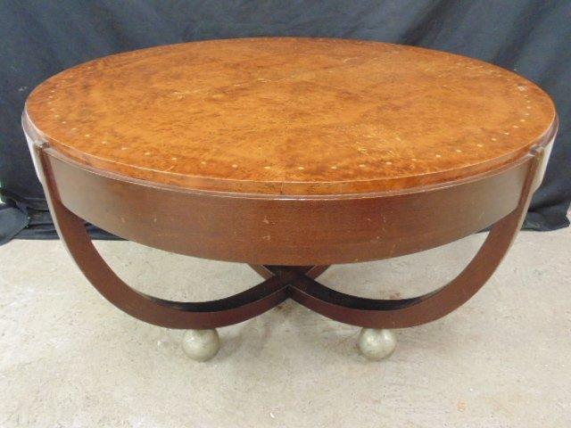 Edward Schnorr coffee table, metal ball feet