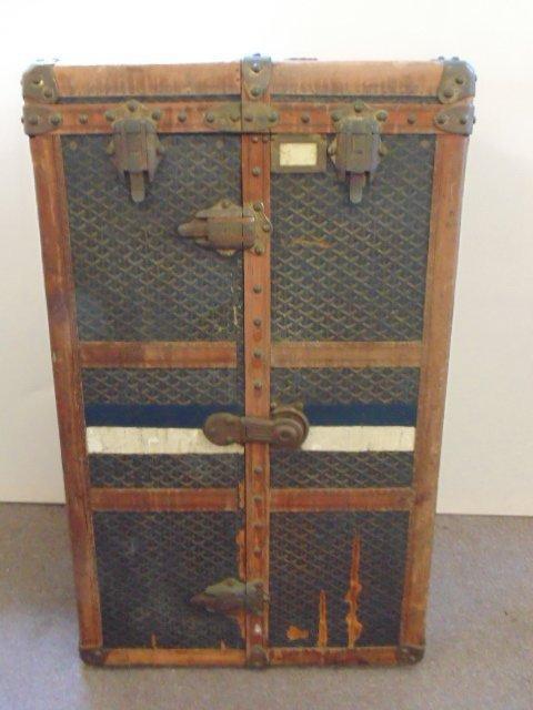 vintage Goyard brass mounted leather steamer trunk