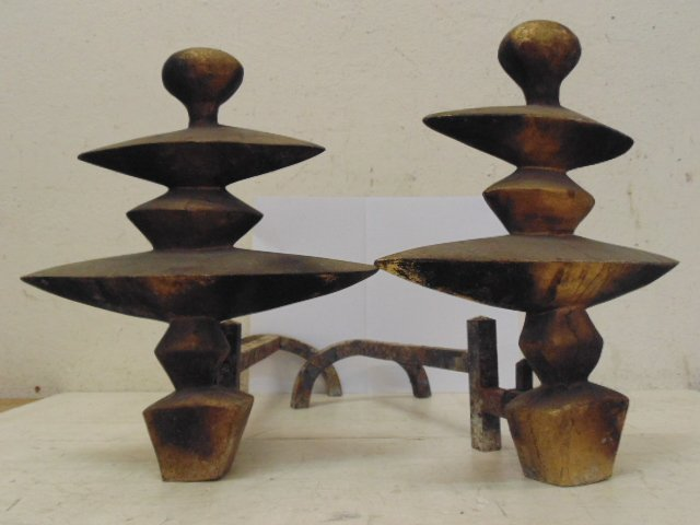 Pair mid Century bronze andirons, after Giacometti