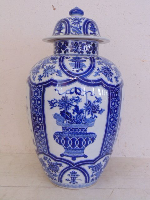 Chinese blue & white porcelain vas