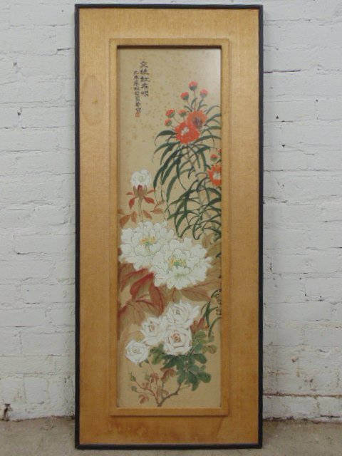 Chinese watercolor, floral scene, signed