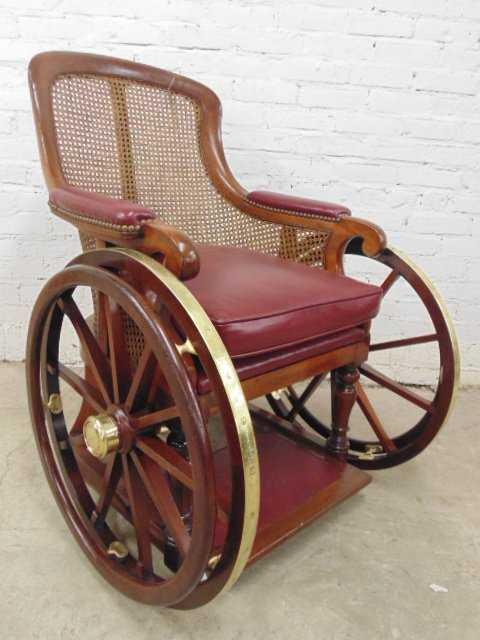 - Antique Wheelchair, Restored, Brass Wheels
