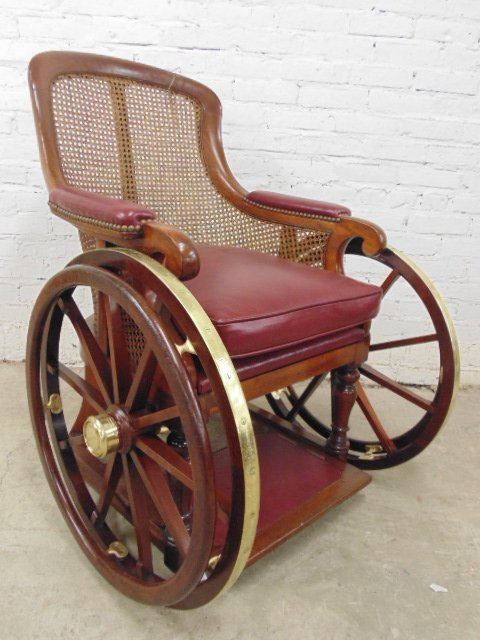 antique wheelchair, restored, brass wheels